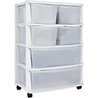more details on 6 Drawer Plastic Wide Tower Storage Unit - White.