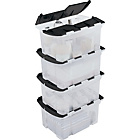 more details on 25 Litre Black Crocodile Lid Storage Boxes - Set of 4.