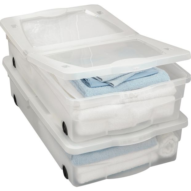 Buy Home 50 Litre 2 Wheeled Plastic Underbed Storage With