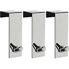 more details on HOME Set of 3 Chunky Over Door Coat Hooks - Chrome.