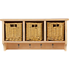 more details on 3 Basket Storage Unit with 4 Coat Hooks - Solid Pine.
