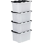 more details on 40 Litre Black Crocodile Lid Storage Boxes - Set of 4.