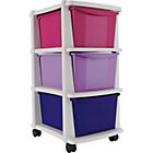 more details on 3 Drawer Slim Tower Storage Unit - Red, Lilac and Purple.