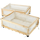 more details on Set of 2 Fabric & Wood Underbed Storage Drawers on Castors.