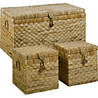 more details on HOME Large Water Hyacinth Wicker Chest and 2 Boxes - Natural
