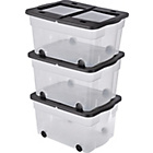 more details on 45 Litre Lidded Wheeled Plastic Storage Box - Set of 3.
