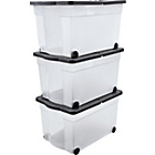 more details on HOME 65 Litre Lidded Wheeled Plastic Storage Box - Set of 3.