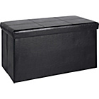 more details on Large Leather Effect Ottoman with Stitching Detail - Black.