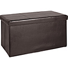 more details on HOME Large Leather Effect Ottoman - Stitching Detail - Brown