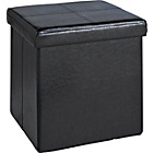 more details on Small Leather Effect Ottoman with Stitching Detail - Black.