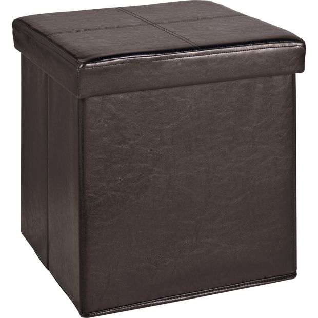 Buy Home Sm Leather Effect Ottoman With Stitching Detail