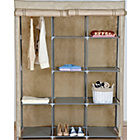 more details on HOME Double Modular Metal Framed Fabric Wardrobe-Jute Effect