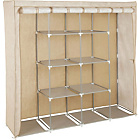 more details on Triple Modular Metal Framed Fabric Wardrobe - Jute Effect.
