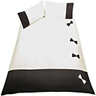 more details on Living Black and Cream Bow Duvet Cover Set - Double.