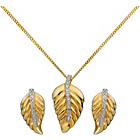 more details on 9ct Gold Plated Sterling Silver Leaf Pendant & Earrings Set.
