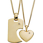 more details on 9ct Gold Plated Silver His and Hers Love Pendant Set.