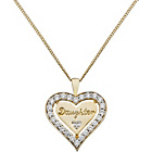 more details on 9ct Gold Plated Silver CZ Heart 'Daughter' Pendant.