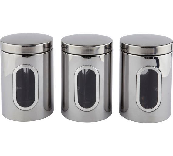 Buy home stainless steel storage canisters at for Kitchen set argos