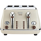 more details on De'Longhi CTOV4003BG Vintage Icona 4 Slice Toaster - Cream.