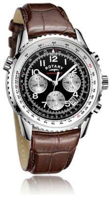 buy rotary s brown black chronograph leather
