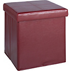 more details on Small Leather Effect Ottoman with Stitching Detail - Red.