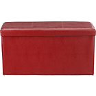 more details on Large Leather Effect Ottoman with Stitching Detail - Red.