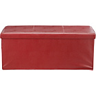more details on Extra Large Leather Effect Ottoman with Stitching Detail-Red