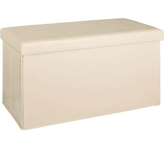 Buy Home Large Leather Effect Ottoman Stitching Detail