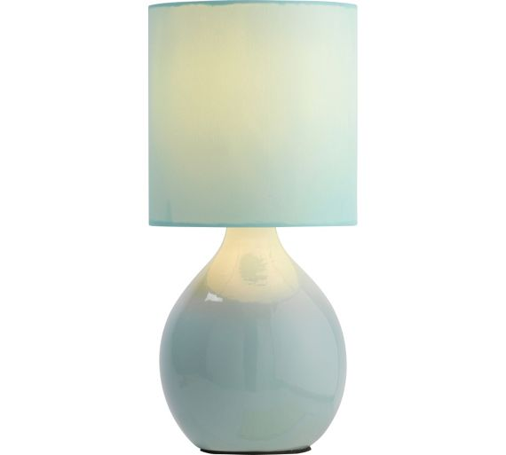 Buy colourmatch round ceramic table lamp jellybean blue for Table lamps argos