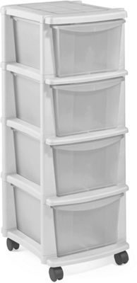 Buy Home Keter 4 Drawer Plastic Tower Storage Unit White