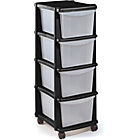 more details on HOME Keter 4 Drawer Plastic Tower Storage Unit - Black.