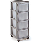 more details on HOME Keter 4 Drawer Plastic Tower Storage Unit - Silver.