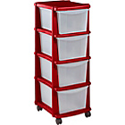 more details on HOME Keter 4 Drawer Plastic Tower Storage Unit - Red.