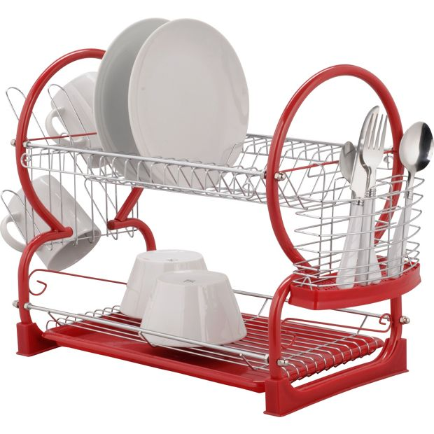 buy home 2 tier dish rack red at your. Black Bedroom Furniture Sets. Home Design Ideas