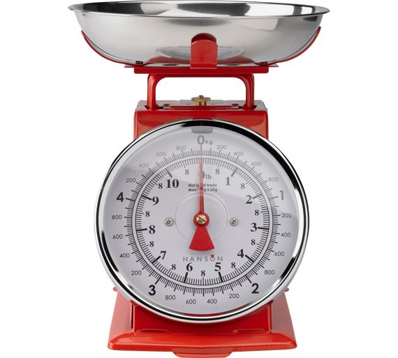 Buy hanson traditional mechanical kitchen scale red at for Traditional kitchen scales