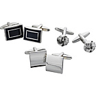 more details on Rhodium Plated Cufflinks - Set of 3.