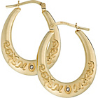 more details on Silver & 9ct Bonded Gold Diamond 'Mum' Creole Earrings.