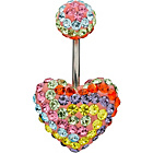 more details on Stainless Steel Multicoloured Crystal Heart Belly Bar.