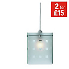 more details on HOME 4 Panel Check Glass Pendant Shade - Frosted.