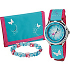 more details on Girls' Aqua and Pink Velcro Watch Set.
