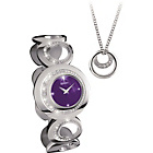 more details on Seksy Ladies' Purple Dial Watch and Necklace Set.
