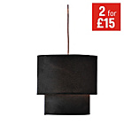 more details on HOME 2 Tier Suede Ceiling Shade - Black.