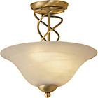 more details on Spiral 2 Light Ceiling Fitting - Antique Brass.