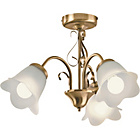 more details on HOME Elise 3 Light Ceiling Fitting - Antique Brass.