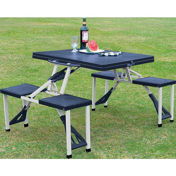 Buy folding picnic table and stools at your - Camping picnic table and chairs ...