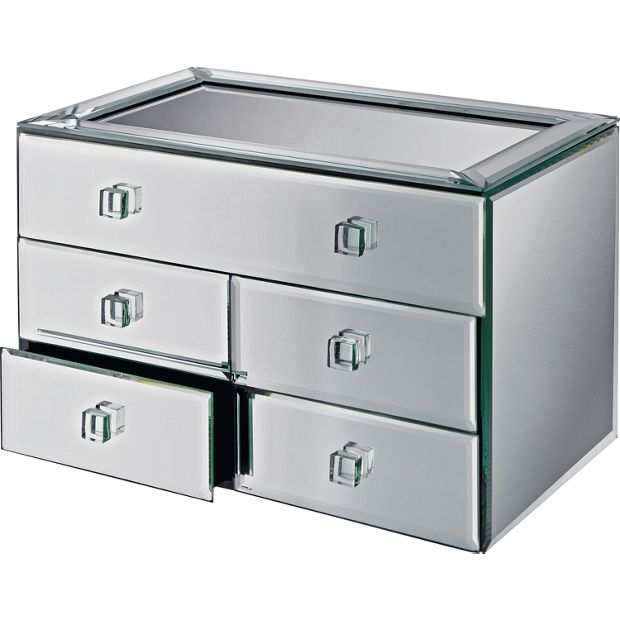Buy bevelled five drawer mirrored jewellery box at argos for Mirror jewellery box