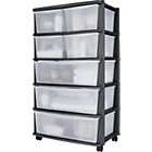 more details on HOME 7 Drawer Plastic Wide Tower Storage Unit - Black.