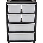 more details on HOME 6 Drawer Plastic Wide Tower Storage Unit - Black.