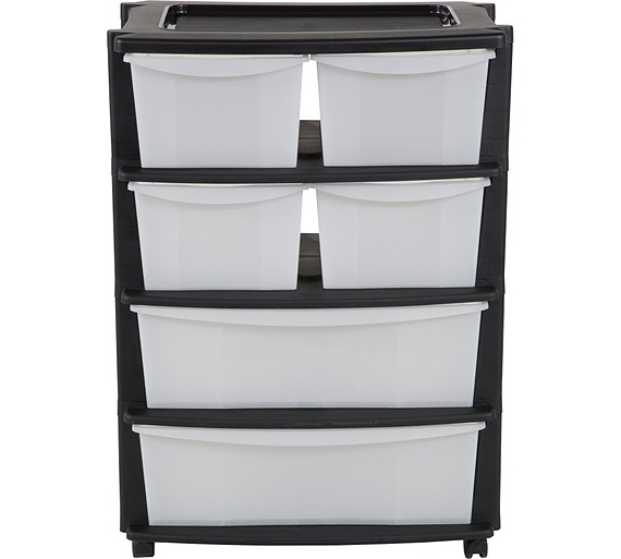 Buy HOME 6 Drawer Plastic Wide Tower Storage Unit