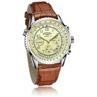 Rotary Leather Strap Analogue Display Mens Chronograph Watch (Brown)